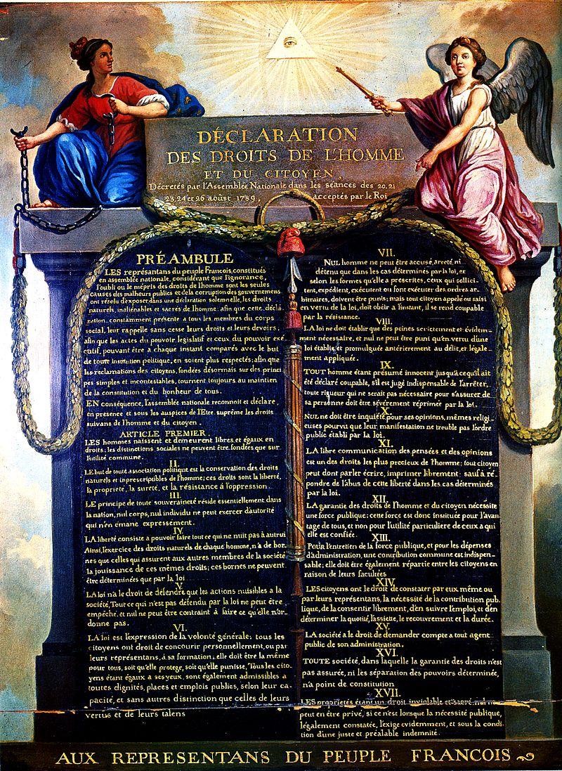 Représentation de la Déclaration des Droits de l'Homme et du Citoyen de 1789, par Jean-Jacques-François Le Barbier. La Monarchie, tenant les chaînes brisées de la Tyrannie, et le génie de la Nation, tenant le sceptre du Pouvoir, entourent la déclaration. Musée Carnavalet - domaine public.