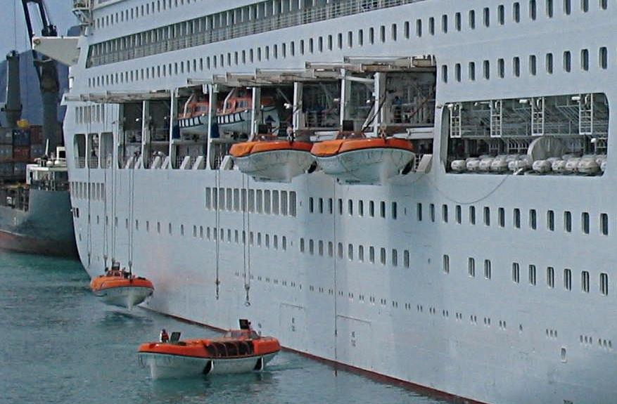 Mise à l'eau d'embarcations de sauvetage sous bossoirs
