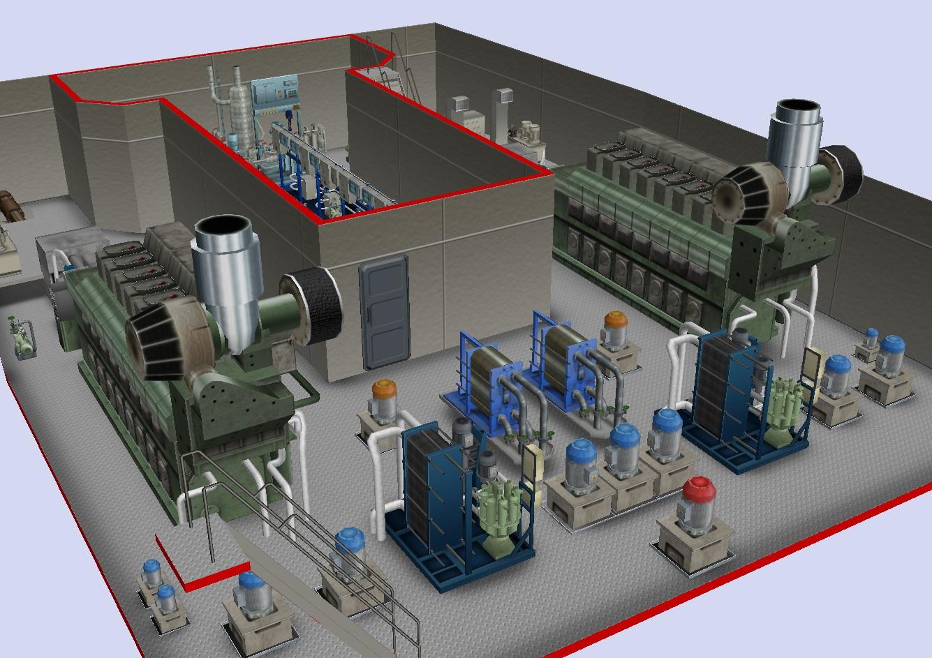 Extrait du simulateur machine Transas : visualisation en 3D de la salle des machines d'un ferry équipé de deux moteurs Diesel suralimentés à 8 cylindres en ligne.